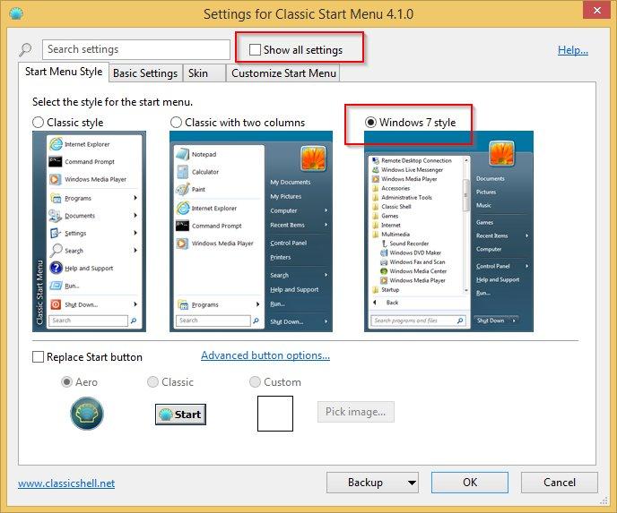Classic Shell: Classic Start Menu: settings window
