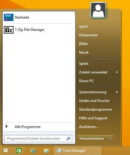 the start menu like in Windows 7