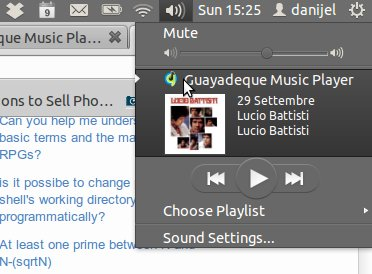 Guayadeque task bar applet